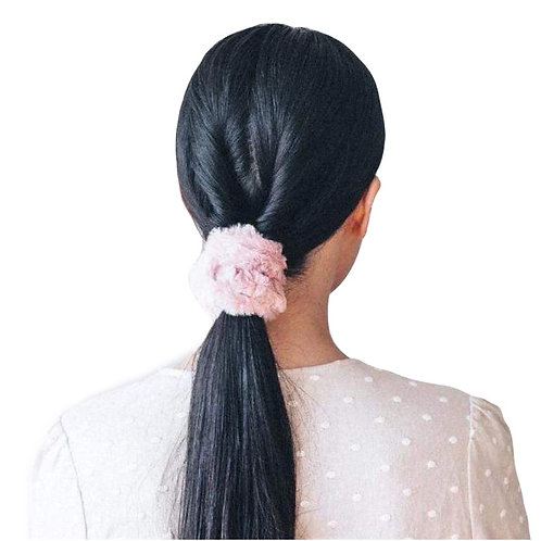 FAUX FUR SCRUNCHIES BLUSH/WHITE