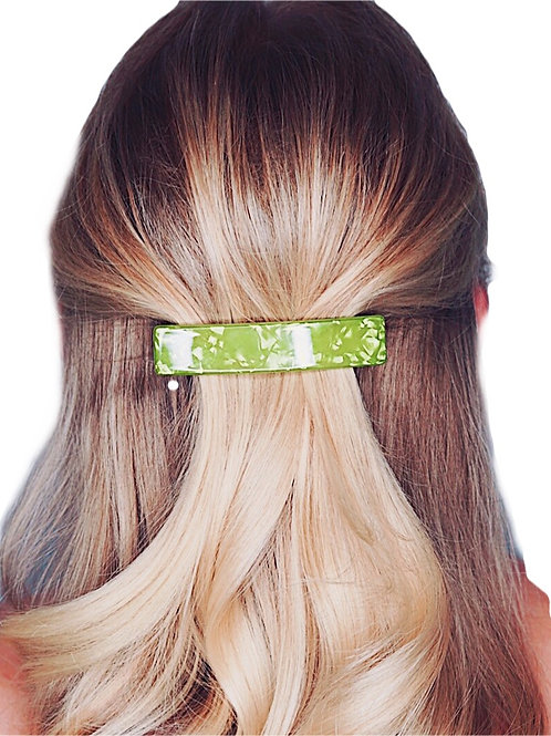 Acetate Barrette - Lime Green Pearl