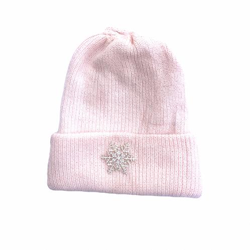 Angora Blend Beanie with SnowFlake- Pink