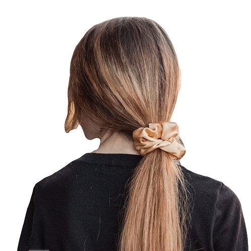 100% Silk Volume Scrunchie in gold