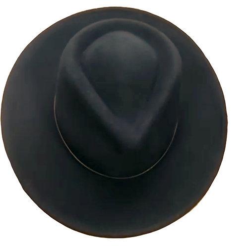 Premium 100% Australian Wool Teardrop Fedora - Black