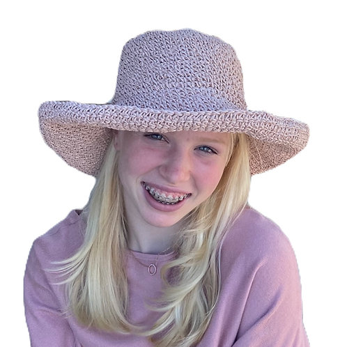 Woven Foldable SunHat - Pink