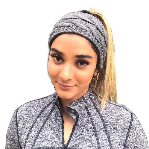 Knitted Cable Headband - dark Grey