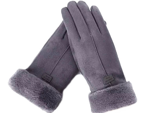 Faux SuedeTouchscreen Gloves-Grey