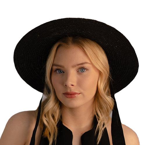 100% Wheat Straw Black Wide Brim Tie Hat - Black