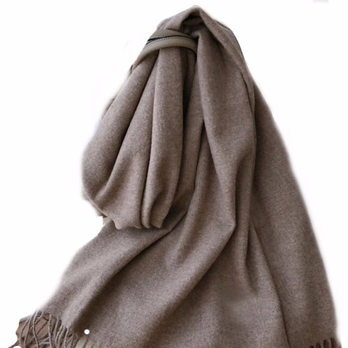 Premium Virgin 100% Wool Blanket Scarf- Brown