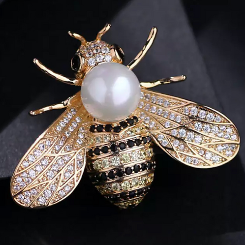 Brooch- Gold Pearl Bee