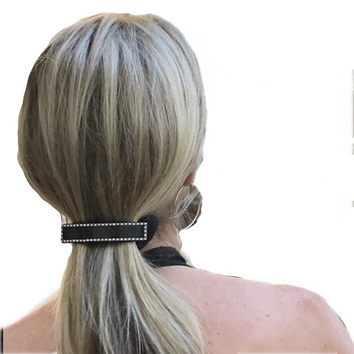 Oversized Premium Barrette in Black with Crystals