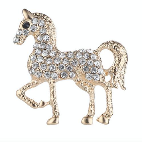 Brooch- Crystal Horse Gold