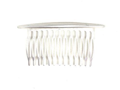 Metal hair comb in matt silver.