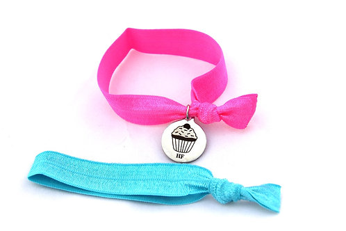 Charm Tie- Cupcake Hot Pink & Turquoise