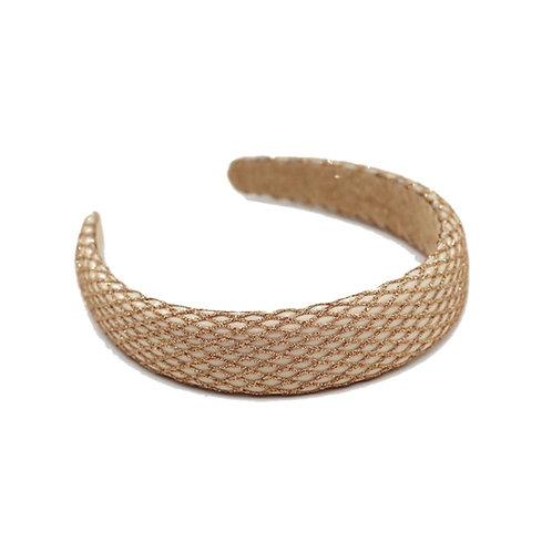 Padded Champagne Headband-Champagne Mesh