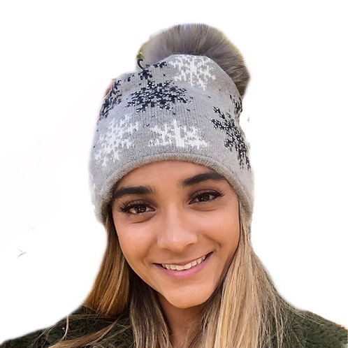 Angora blend Snow Beanie - Grey & Luxe Pom Pom