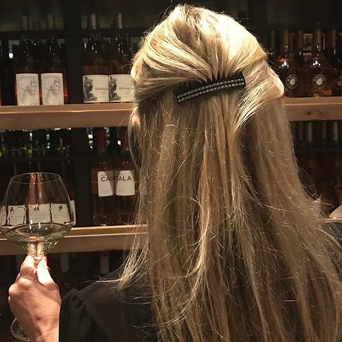 Premium Black acetate hair comb now with Black crystals