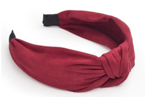 Knotted Suede Headband-Wine