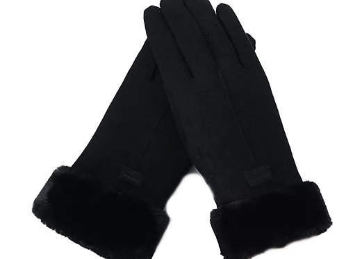 Faux SuedeTouchscreen Gloves- Black