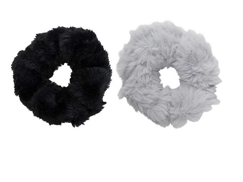 FAUX FUR SCRUNCHIES BLACK/GREY