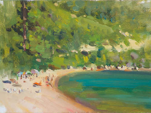 """Sand Harbor Beach"" 5x7 Oil on linen board."