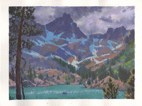 """Clouds At The Peak 7.5x9"""" Gouache Painting"""