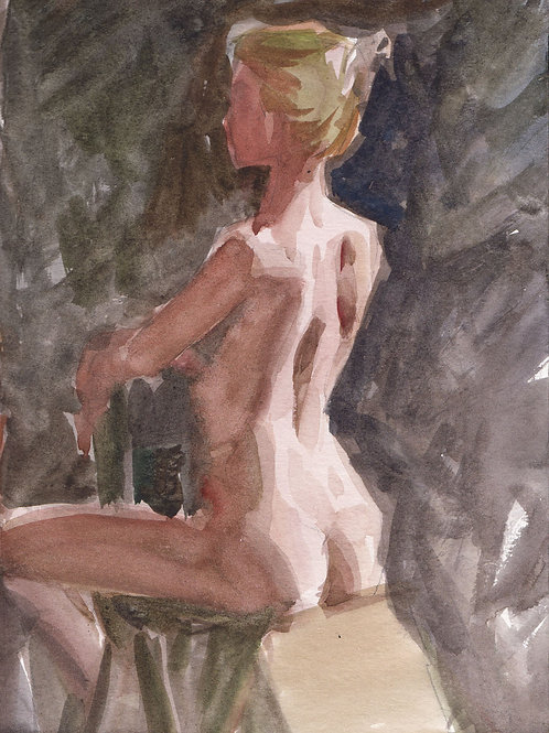 Watercolor: Blonde Seated Reverse