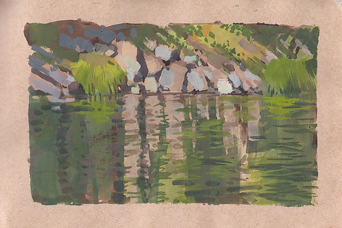 Paint Drip #84 River Reflections In Gouache