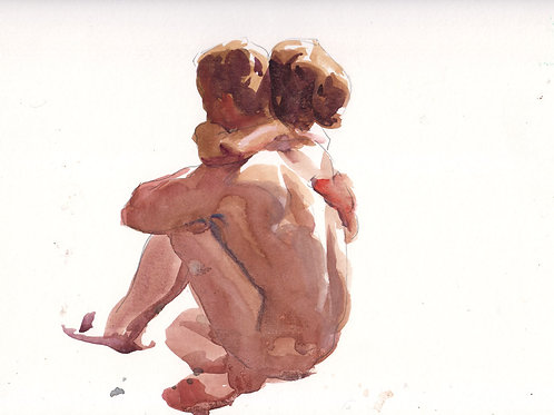 Watercolor: Hugging Couple #2