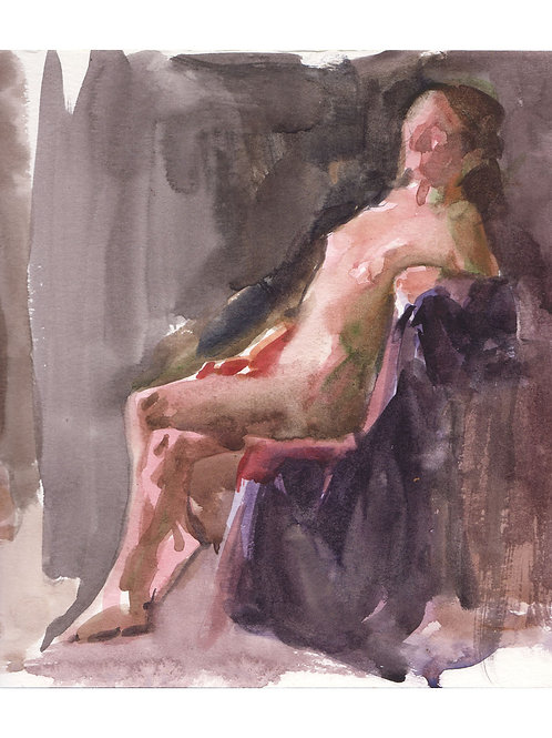 Watercolor: Seated Woman