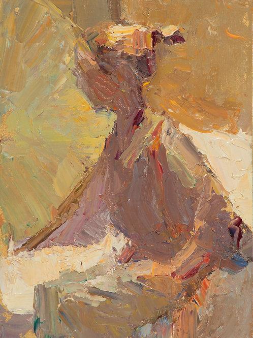 """""""Palette Knife Portrait"""" oil on linen board."""