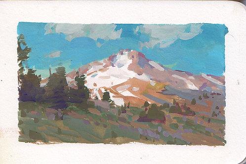 Paint Drip #126 Mt Hood Study In Gouache