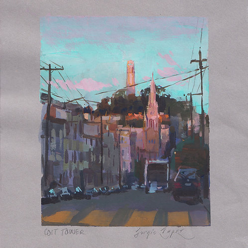 Paint Drip #15: Coit Tower In The Evening
