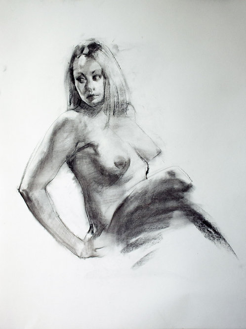 Girl Sitting And Twisting, 18x24 charcoal on paper.