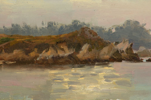 """""""Granite Point From Monastery Beach (Point Lobos)"""", 5.5x9"""" oil painting on linen"""