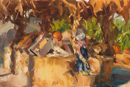 "Muelrath Pumpkin Patch, 8x12"" oil painting on linen board"