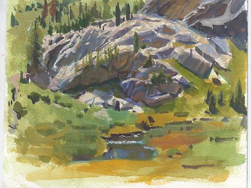 """""""Ediza Lake Stream"""" Gouache on paper."""