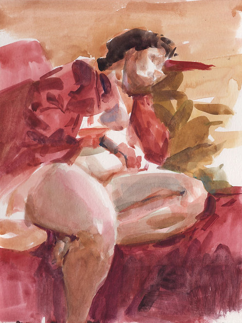 Watercolor: Breen In Red Robe