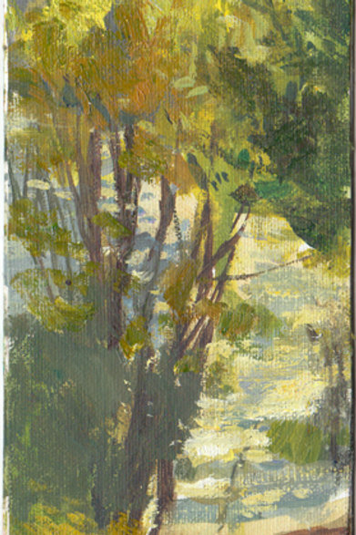 """""""Riverfront Park"""" Water-mixable oil on matboard"""
