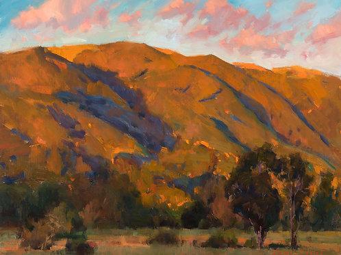 """""""Setting Sun On The California Hills"""" 9x13 in. Print"""