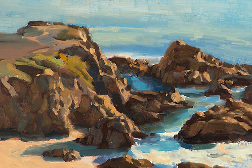 """""""Bodega Head At Evening"""", 8x12"""" oil painting on linen"""