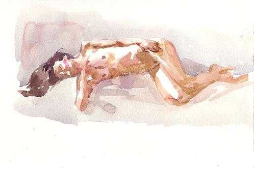 Watercolor: Floofie Reclining