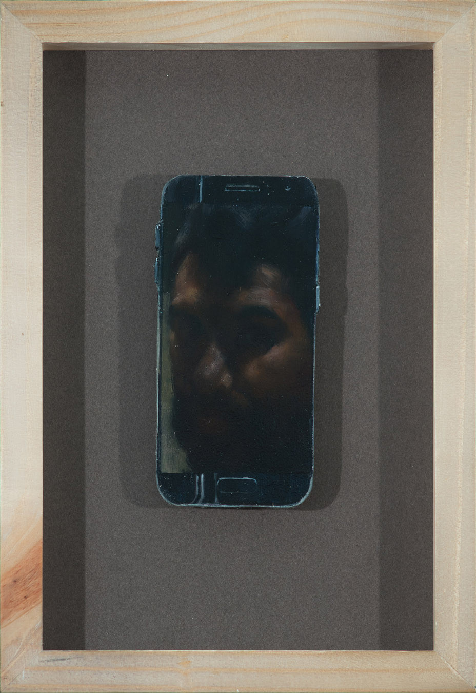 self portrait on phone shaped panel