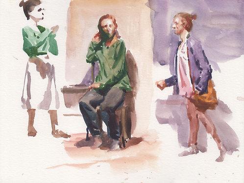 Watercolor: 3 Girls