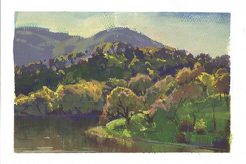 "Lake Suttonfield 7x10"" Gouache Painting"
