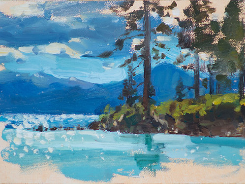 """Tahoe Sketch"" 5x7 Oil on linen board."