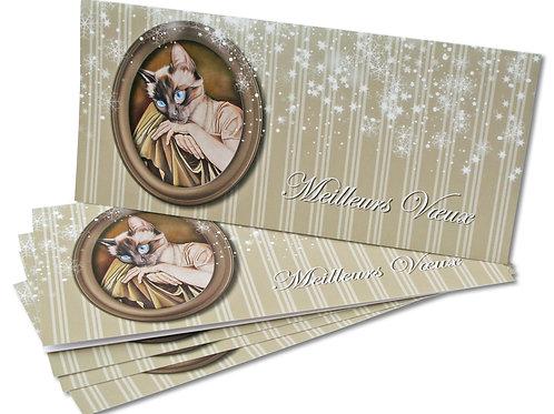 """Carte de vœux """"Chat"""" X3 + enveloppes"""