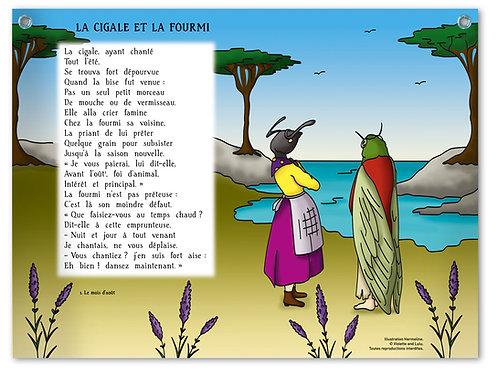 """Planche murale """"Fables de La Fontaine"""" - Cigale"""