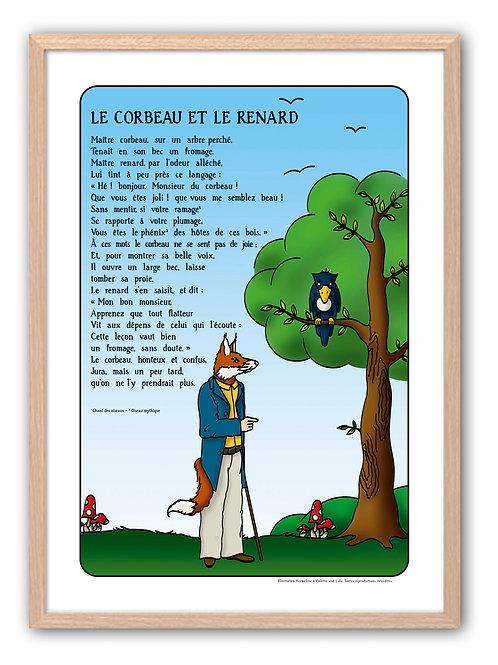 """Affiche """"Fables de La Fontaine"""" - Corbeau"""