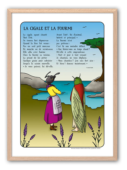"""Affiche """"Fables de La Fontaine"""" - Cigale"""