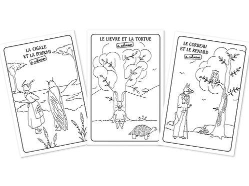 """Cartes postales """"Fables"""" à colorier X3"""