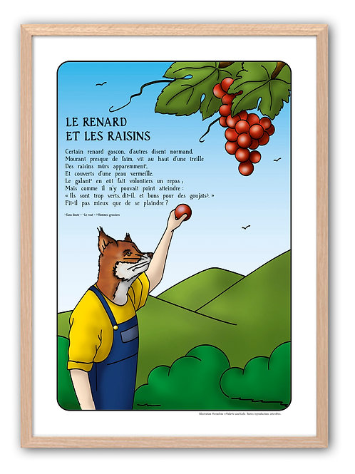 "Affiche ""Fables de La Fontaine"" - Raisin"