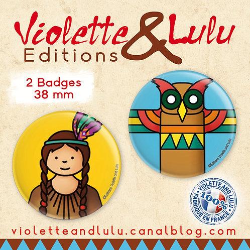Badges Indienne/Totem vendus par 2